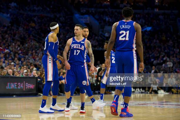 Tobias Harris JJ Redick Ben Simmons Jimmy Butler and Joel Embiid of the Philadelphia 76ers in action against the Brooklyn Nets in Game Two of Round...
