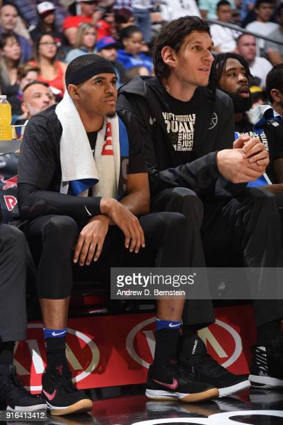 Tobias Harris of the LA Clippers and Boban Marjanovic of the LA Clippers look on during the game against the Chicago Bulls on February 3 2018 at...