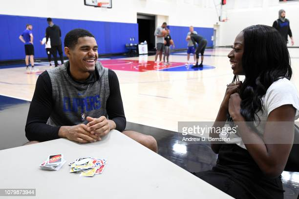 Tobias Harris of the LA Clippers and Chiney Ogwumike play games during practice on January 7 2019 at the LA Clippers Training Center in Playa Vista...