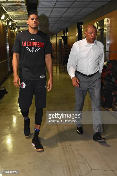 Tobias Harris of the LA Clippers and Head Coach Doc Rivers of the LA Clippers walk through the hall prior to the game against the Chicago Bulls on...