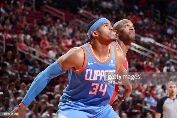 Tobias Harris of the LA Clippers boxes out against PJ Tucker of the Houston Rockets on March 15 2018 at the Toyota Center in Houston Texas NOTE TO...