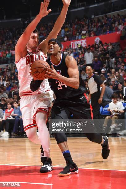 Tobias Harris of the LA Clippers drives to the basket during the game against the Chicago Bulls on February 3 2018 at STAPLES Center in Los Angeles...