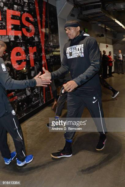 Tobias Harris of the LA Clippers exchanges a high five prior to the game against the Chicago Bulls on February 3 2018 at STAPLES Center in Los...