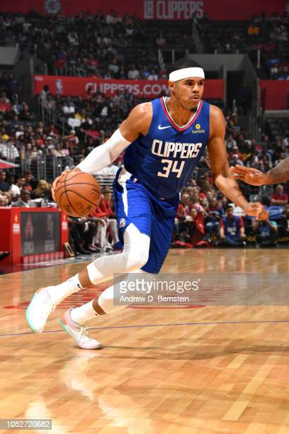 Tobias Harris of the LA Clippers handles the ball against the Houston Rockets on October 21 2018 at Staples Center in Los Angeles California NOTE TO...