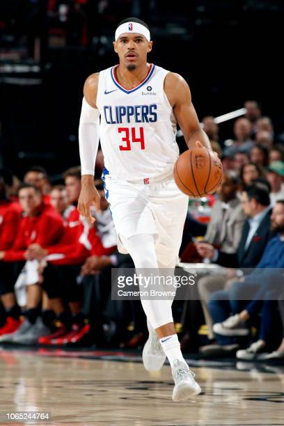 Tobias Harris of the LA Clippers handles the ball against the Portland Trail Blazers on November 25 2018 at the Moda Center Arena in Portland Oregon...