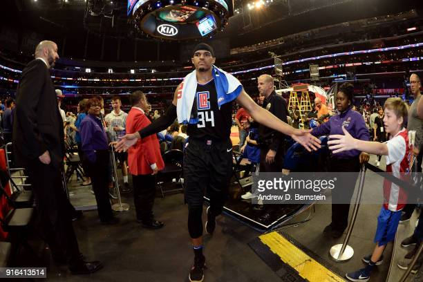 Tobias Harris of the LA Clippers high fives a fan after the game against the Chicago Bulls on February 3 2018 at STAPLES Center in Los Angeles...