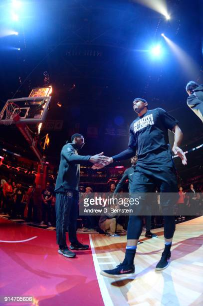 Tobias Harris of the LA Clippers is introduced before the game against the Dallas Mavericks on February 5 2018 at STAPLES Center in Los Angeles...