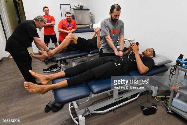 Tobias Harris of the LA Clippers is stretched before the game against the Chicago Bulls on February 3 2018 at STAPLES Center in Los Angeles...