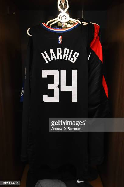 Tobias Harris of the LA Clippers jersey is seen in the locker room prior to the game against the Chicago Bulls on February 3 2018 at STAPLES Center...