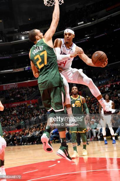 Tobias Harris of the LA Clippers passes the ball against the Utah Jazz on January 16 2019 at STAPLES Center in Los Angeles California NOTE TO USER...