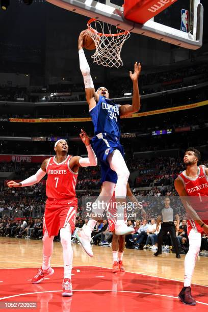 Tobias Harris of the LA Clippers shoots the ball against the Houston Rockets on October 21 2018 at Staples Center in Los Angeles California NOTE TO...
