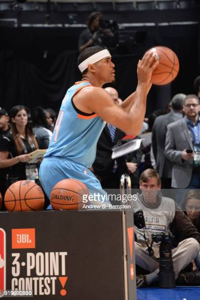 Tobias Harris of the LA Clippers shoots the ball during the JBL ThreePoint Contest during State Farm AllStar Saturday Night as part of the 2018 NBA...