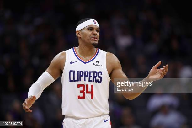 Tobias Harris of the LA Clippers stands on the court during their game against the Sacramento Kings at Golden 1 Center on November 29 2018 in...