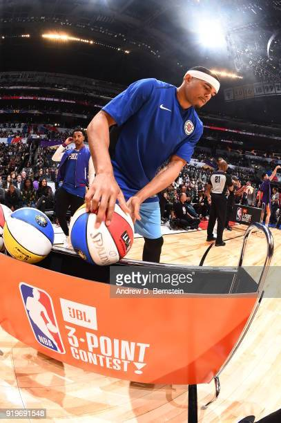 Tobias Harris of the LA Clippers warms up prior to the JBL ThreePoint Contest during State Farm AllStar Saturday Night as part of the 2018 NBA...