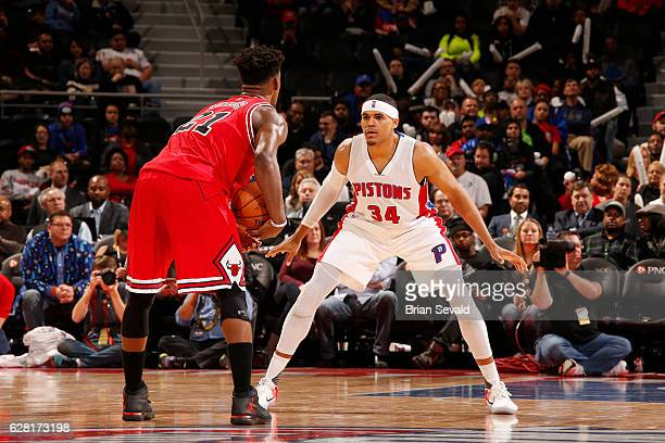 Tobias Harris of the Detroit Pistons defends against Jimmy Butler of the Chicago Bulls during the game on December 6 2016 at The Palace of Auburn...