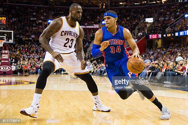 Tobias Harris of the Detroit Pistons drives past LeBron James of the Cleveland Cavaliers during the second half at Quicken Loans Arena on February 18...