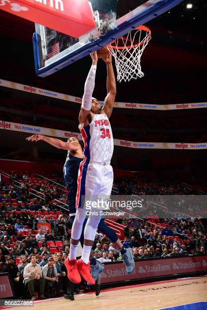 Tobias Harris of the Detroit Pistons drives to the basket against the Minnesota Timberwolves on October 25, 2017 at Little Caesars Arena in Detroit,...