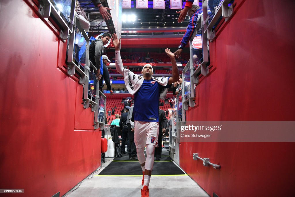Tobias Harris #34 of the Detroit Pistons gives high five to fans during the game against the Minnesota Timberwolves on October 25, 2017 at Little Caesars Arena in Detroit, Michigan.
