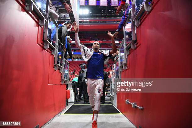 Tobias Harris of the Detroit Pistons gives high five to fans during the game against the Minnesota Timberwolves on October 25, 2017 at Little Caesars...