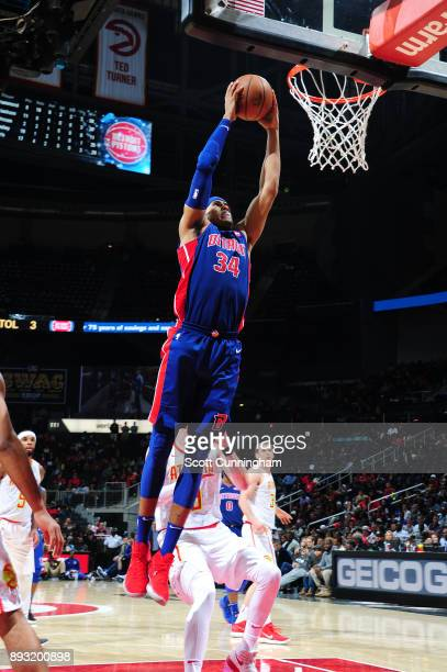 Tobias Harris of the Detroit Pistons goes up for a dunk against the Atlanta Hawks on December 14 2017 at Philips Arena in Atlanta Georgia NOTE TO...