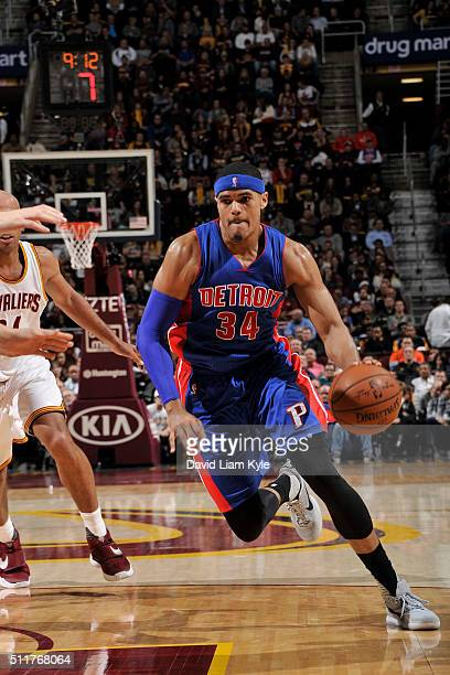 Tobias Harris of the Detroit Pistons handles the ball against the Cleveland Cavaliers on February 22 2016 at Quicken Loans Arena in Cleveland Ohio...