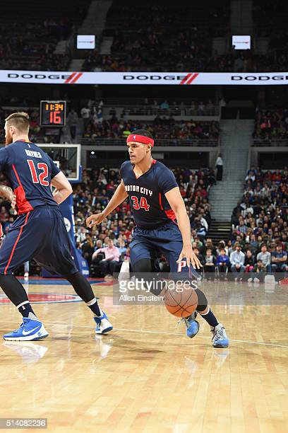 Tobias Harris of the Detroit Pistons handles the ball against the Portland Trail Blazers on March 6 2016 at The Palace of Auburn Hills in Auburn...