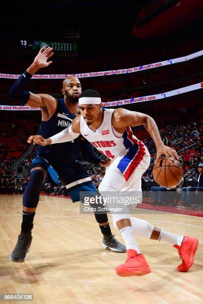Tobias Harris of the Detroit Pistons handles the ball against the Minnesota Timberwolves on October 25, 2017 at Little Caesars Arena in Detroit,...