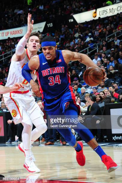 Tobias Harris of the Detroit Pistons handles the ball against the Atlanta Hawks on December 14 2017 at Philips Arena in Atlanta Georgia NOTE TO USER...