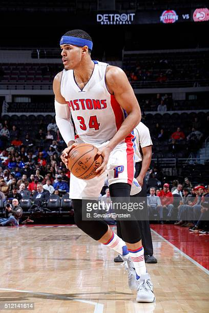 Tobias Harris of the Detroit Pistons handles the ball during the game against the Philadelphia 76ers on February 24 2016 at The Palace of Auburn...