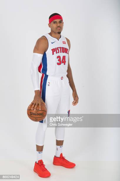 Tobias Harris of the Detroit Pistons poses for a portrait during Media Day on September 25 2017 at the Little Caesars Arena Detroit MI NOTE TO USER...