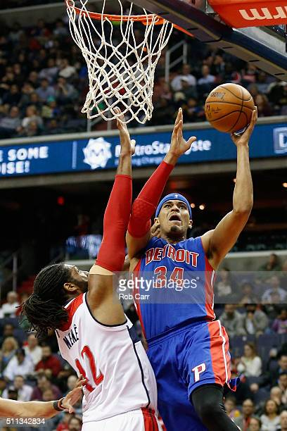 Tobias Harris of the Detroit Pistons puts up a shot in front of Nene Hilario of the Washington Wizards in the first half at Verizon Center on...