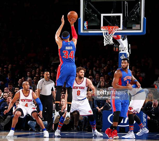 Tobias Harris of the Detroit Pistons shoots against the New York Knicks on March 5 2016 at Madison Square Garden in New York City NOTE TO USER User...