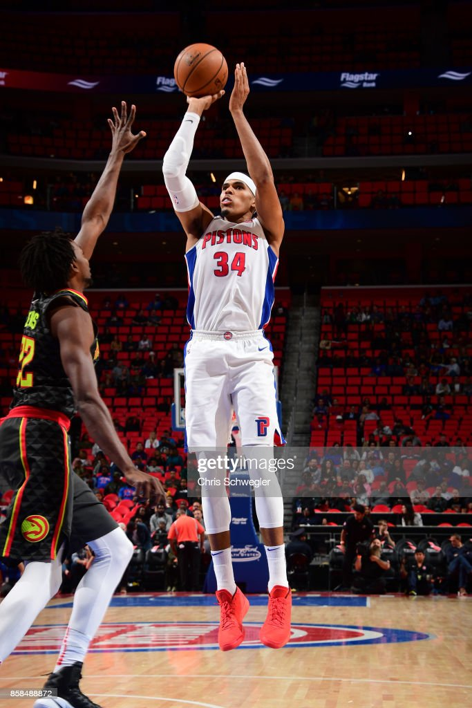 Tobias Harris #34 of the Detroit Pistons shoots the ball against the Atlanta Hawks on October 6, 2017 at Little Caesars Arena in Detroit, Michigan.