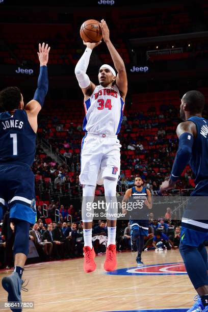 Tobias Harris of the Detroit Pistons shoots the ball against the Minnesota Timberwolves on October 25 2017 at Little Caesars Arena in Detroit...