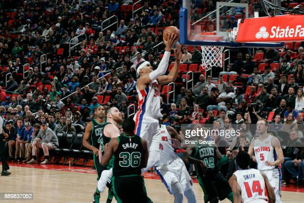Tobias Harris of the Detroit Pistons shoots the ball against the Boston Celtics on December 10 2017 at Little Caesars Arena in Detroit Michigan NOTE...