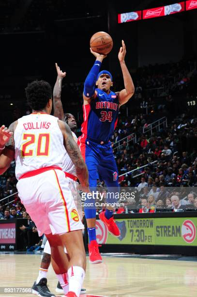 Tobias Harris of the Detroit Pistons shoots the ball against the Atlanta Hawks on December 14 2017 at Philips Arena in Atlanta Georgia NOTE TO USER...