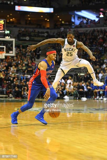 Tobias Harris of the Detroit Pistons works against DeAndre Liggins of the Milwaukee Bucks during a game at the Bradley Center on November 15 2017 in...