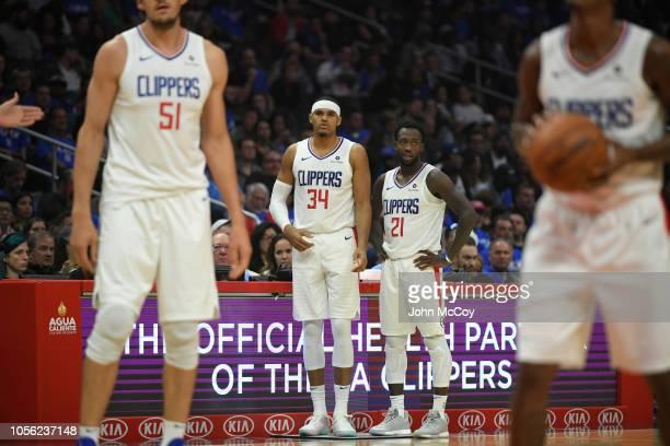 575a2c8b8 Tobias Harris of the Los Angeles Clippers and Patrick Beverley of the Los  Angeles Clippers watch