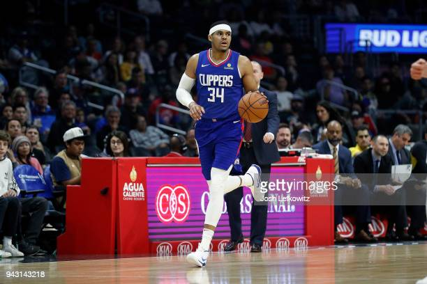 Tobias Harris of the Los Angeles Clippers controls the ball during the game against the Denver Nuggets at Staples Center on April 7 2018 in Los...