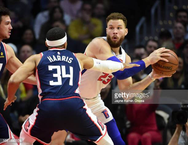 Tobias Harris of the Los Angeles Clippers guards Blake Griffin of the Detroit Pistons in the first half of the game at Staples Center on January 12...