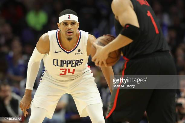 Tobias Harris of the Los Angeles Clippers looks on during the second half of a game against the Portland Trail Blazers at Staples Center on December...