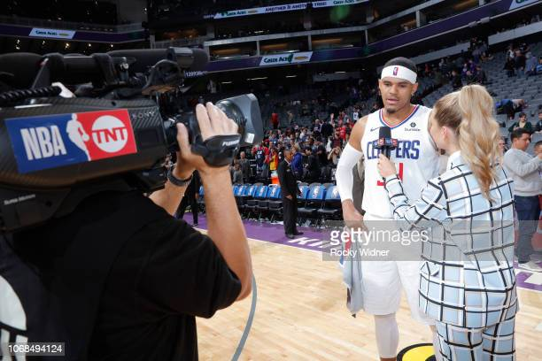 Tobias Harris of the Los Angeles Clippers speaks with reporter Allie LaForce after defeating the Sacramento Kings on November 29 2018 at Golden 1...