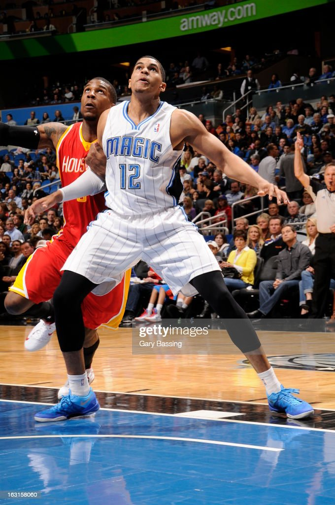 Tobias Harris #12 of the Orlando Magic awaits a rebound against the Houston Rockets on March 1, 2013 at Amway Center in Orlando, Florida.