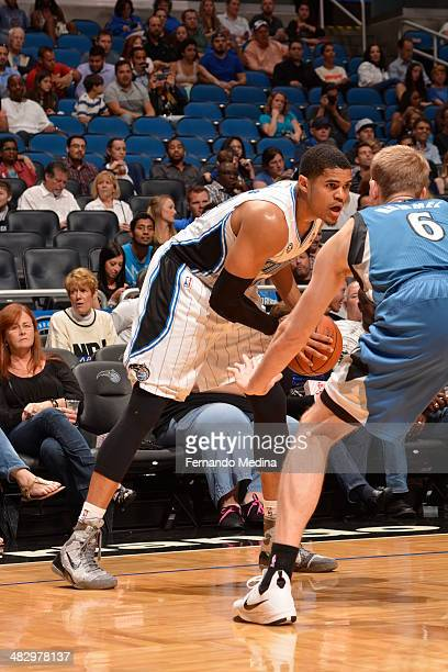 Tobias Harris of the Orlando Magic controls the ball against the Minnesota Timberwolves on April 5 2014 at Amway Center in Orlando Florida NOTE TO...