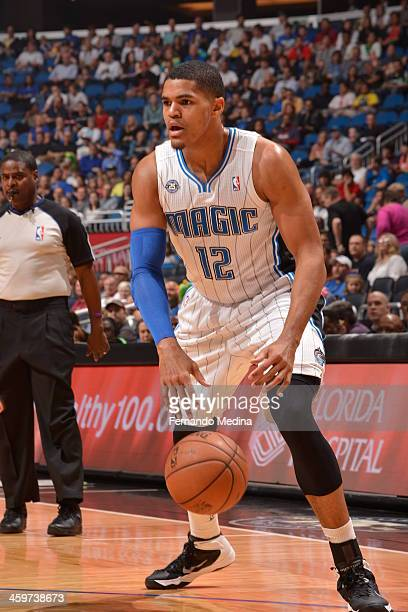 Tobias Harris of the Orlando Magic dribbles to the basket against the Atlanta Hawks during the game on December 29 2013 at Amway Center in Orlando...
