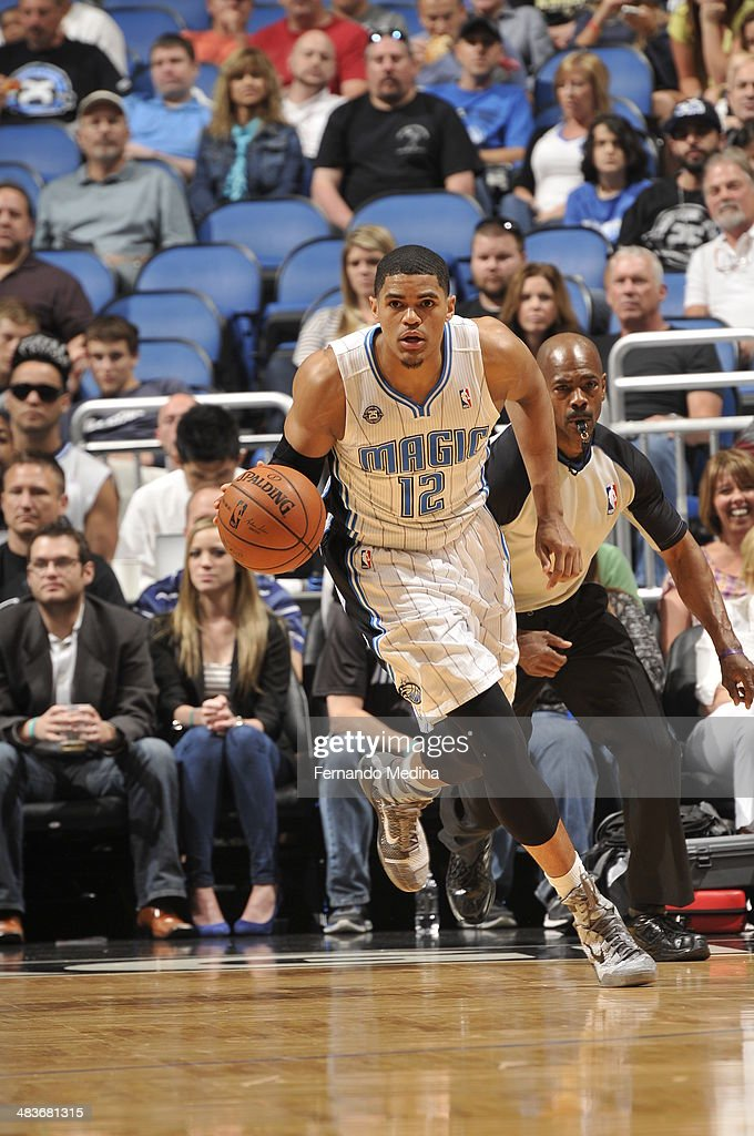 Tobias Harris #12 of the Orlando Magic dribbles up the court against the Brooklyn Nets during the game on April 9, 2014 at Amway Center in Orlando, Florida.