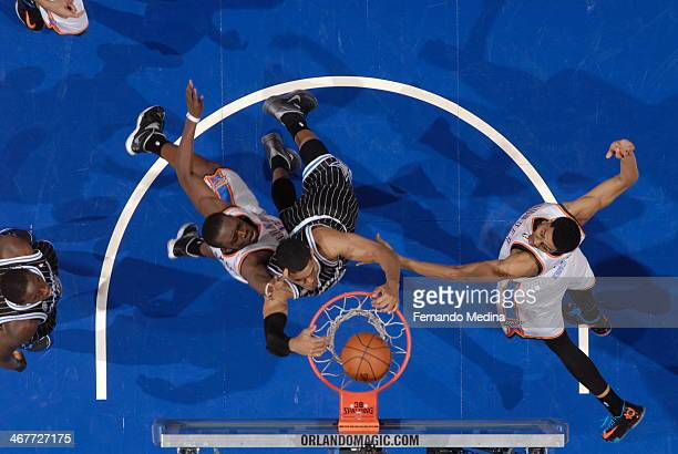 Tobias Harris of the Orlando Magic dunks the ball for the game winner, against the Oklahoma City Thunder during the game on February 7, 2014 at Amway...