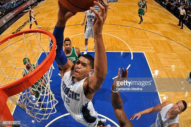 Tobias Harris of the Orlando Magic goes for the dunk against the Boston Celtics during the game on January 31 2016 at Amway Center in Orlando Florida...