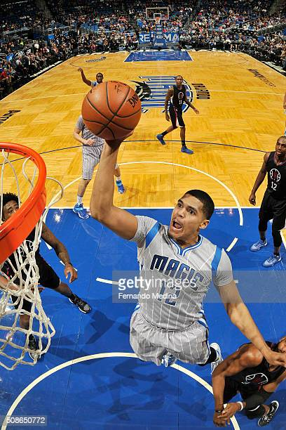 Tobias Harris of the Orlando Magic goes for the dunk during the game against the Los Angeles Clippers on February 5 2016 at Amway Center in Orlando...