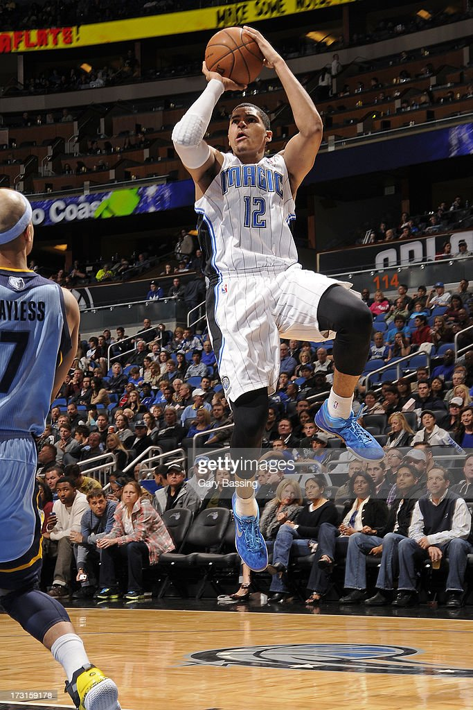Tobias Harris #12 of the Orlando Magic goes to the basket during the game between the Memphis Grizzlies and the Orlando Magic on March 3, 2013 at Amway Center in Orlando, Florida.